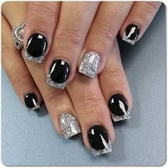 Nail Designs With Black Silver and White