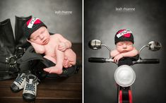 Baltimore newborn portraits by Leah Rhianne Photography. #Motorcycle #Biker Baby
