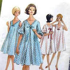 1960s Vintage ROBE and Nightgown Sewing Pattern by SelvedgeShop