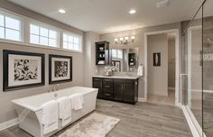 Transitional Master Bathroom with Marazzi Montagna Dapple Gray 6 in. x 24 in. Porcelain Floor and Wall Tile, High ceiling