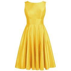 Olidress Women's Short Satin Bowknot Bridesmaid Dress Prom Dress (8480 RSD) ❤ liked on Polyvore featuring dresses, yellow cocktail dress, bridesmaid dresses, yellow dress, short prom dresses and satin dress