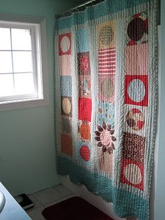 Quilt As A Shower Curtain Patchwork Curtains Display Colorful Quilts Decorating Your