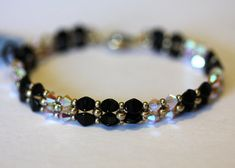 Opal Swarovski crystal, Black Pinch Bead Bracelet, Beadweaving,Beaded Crystal Bracelet,Sand Opal Crystal Bracelet,Amy Johnson Designs BV2093