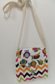 Small Messenger Bag - made by me with owl and colorful chevron  fabric - crossover purse