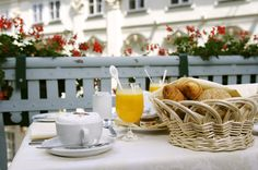 Breakfast on the hotel room balcony