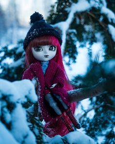 Tsukiko [Pullip Wilhelmina] Winter Day, Snowman, Dolls, Christmas Ornaments, Holiday Decor, Outdoor Decor, Beautiful, Instagram, Baby Dolls