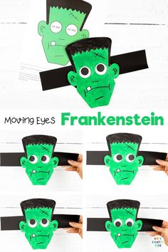 Moving Eyes Easy Frankenstein Craft for Kids to make - A fun and interactive Halloween craft for kids. Children can practice their fine motor skills with cutting   sticking, and use their imaginations to explore color and texture with paints. And as the finished craft is so tactile   interactive, kids will have a great time playing with their creation afterwards, too. Get the paper Frankenstein craft template here! Halloween Crafts for Kids | Fun Frankenstein Crafts for Kids… Halloween Crafts For Kids To Make, Halloween Art Projects, Halloween Activities For Kids, Ghost Crafts, Fox Crafts, Spider Crafts, Frankenstein Craft, Easy Paper Crafts, Crafty Kids