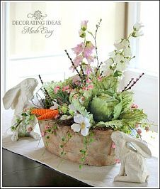 Easter Centerpiece I had to make an Easter centerpiece when I found these artificial cabbages. I made my Easter eggs look vintage with s...