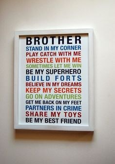 Brothers Wall Art Printable Boys Room Decor by fairplayprintables