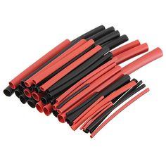 42 adet 6 Boyutları Oranı 2:1 Kırmızı Siyah Poliolefin H-tipi Isı Kablo Shrink Boru boru Kol Sleeve Wrap Tel Kitleri Çeşitli Wrap