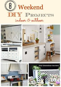 8 weekend DIY project tutorials by a family of four generations all living together under one roof. How to tile, build a media console, build a lattice privacy screen, DIY barn doors, no sew burlap curtains & how to build a window seat @Four Generations One Roof #diy
