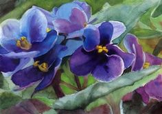 Print Art African Violet Flower Floral Watercolor in Art, Direct from the Artist, Other Art from the Artist | eBay