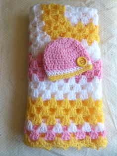 FREE SHIPPING Crochet Baby Blanket & Hat With Button by BabyRaggz, $29.00
