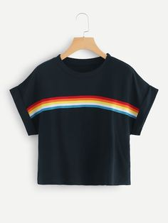 Shop Striped Tape Panel Crop Tee at ROMWE, discover more fashion styles online. Crop Top Outfits, Cute Casual Outfits, Stylish Outfits, Summer Outfits, Winter Outfits, Girls Crop Tops, Cute Crop Tops, Teen Fashion Outfits, Womens Fashion