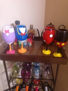 Hand painted Disney wine glasses