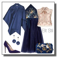 """""""Flowers in blue"""" by elitstil on Polyvore featuring Aspinal of London, J.Crew, Kate Spade, Burberry, Gucci, Gianvito Rossi and Needle & Thread"""