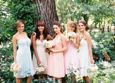 Mix and match bridesmaid dresses from Donna Morgan!
