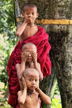See no evil, hear no evil, speak no evil... Three wise monkeys in Myanmar.