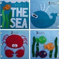 Under the Sea Quiet Book Pattern Busy Book Pattern Travel image 1 Quiet Book Patterns, Felt Quiet Books, Travel Toys, Ocean Themes, Embroidery For Beginners, Busy Book, Sewing Basics, Felt Crafts, Fabric Crafts