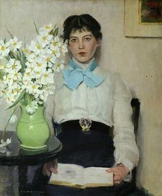 A C W Duncan Woman with Flowers in a Vase 20th century