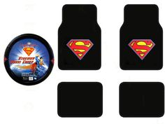 low priced 4fe2a 59003 A Set of 4 Universal Fit Superman Classic Red and Yellow Shield Plush  Carpet Floor Mats and 1 Comfort Grip Steering Wheel Cover   Check out this  great ...