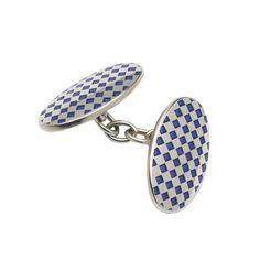 Sterling Silver Blue Diamond Oval Cufflink