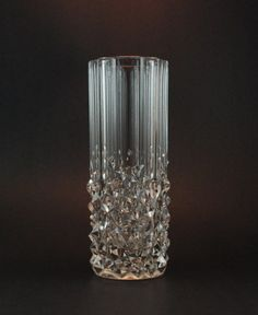 Vintage Geometric Glass Vase - Pressed Glass - Czech Bohemian Glass, Perhaps Sklo Union