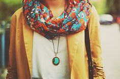 Scarf & necklace.