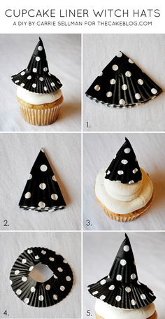{super easy} Cupcake Liner Witch Hats   Make allergy free witch hats out of cupcake liners!