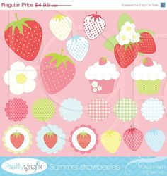 40% OFF SALE 21 summer strawberry clipart commercial use, vector graphics, digital clip art, digital images - PGCLPK505. $2.97, via Etsy.