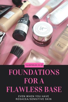 Tips For A Flawless Base: Foundation & Application Methods. How to cover rosacea with make up. How to get flawless skin. Make up tips for full coverage. Best Beauty Blender, Foundation Tips, Best Foundation For Rosacea, Flawless Foundation Application, Brush Cleanser, Makeup Storage, Flawless Skin, Best Makeup Products, Beauty Products
