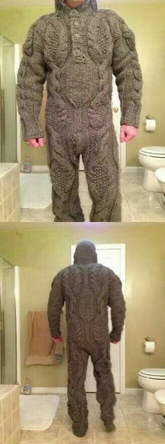 Knitted Onesie...YAAAAAS we found bigfoot