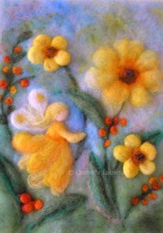 Children's pictures – Cornelia Lauwaert – artist and educator – oil paintings – felt … - Kinder Felt Pictures, Needle Felting Tutorials, Felt Fairy, Felt Embroidery, Wool Art, Nuno Felting, Felt Dolls, Felt Ornaments, Felt Crafts