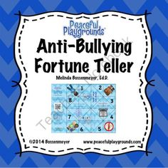 Anti-Bullying Fortune Teller Game from Peaceful Playgrounds Shop on TeachersNotebook.com - (5 pages) - A fortune teller is an origami used for children�s games. Use the Anti-Bullying Fortune Teller Game to practice Anti-Bullying sayings and strategies.