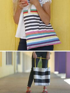 Simple and Fun Sewing Project for Teenage Girls | DIY Tote Bags by DIY Ready at http://diyready.com/27-cool-diy-projects-for-teen-girls/