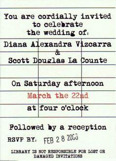 Wedding invitation - librarian theme