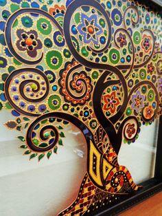 Árbol de la vida Art Glass pintura pintado vidrio árbol de la