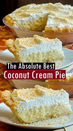 The Absolute Best Coconut Cream Pie Dessert & Cake Recipes Backen Coconut Desserts, Coconut Recipes, Just Desserts, Coconut Pie Recipe Easy, Best Coconut Cream Pie, Coconut Custard Pie, Cocnut Cream Pie, Whipped Cream, Coconut Cheesecake