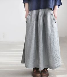 Linen big pocket long skirt. $69.00, via Etsy.