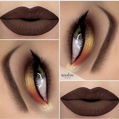 Makeup Eye Looks, Beautiful Eye Makeup, Cute Makeup, Pretty Makeup, Skin Makeup, Eyeshadow Makeup, Beauty Makeup, Eyeshadows, Orange Eyeshadow