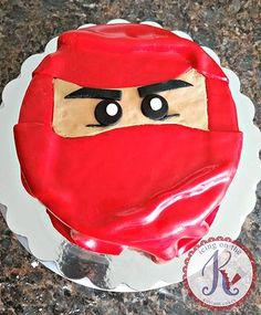 Ninja custom cake ~vanilla cake + strawberries & whipped cream filling + fondant mask face By:icing on the k| karen custom cakes|