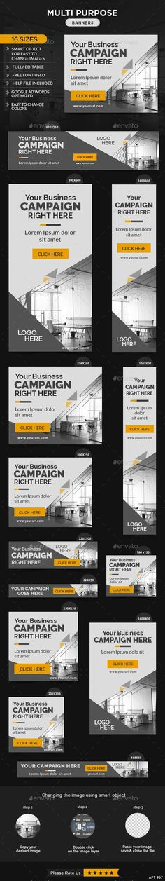 Multi Purpose Web Banners Template PSD #ads #design Download: http://graphicriver.net/item/multi-purpose-banners/13418054?ref=ksioks