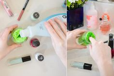 Pour nail polish remover over a sponge in a jar and say bub-bye to cotton balls