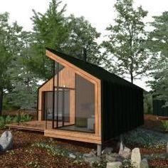 Trendy home office pequeno escandinavo Ideas Cabin Design, Tiny House Design, Modern House Design, Contemporary Cabin, Backyard Office, Weekend House, Tiny House Cabin, Forest House, Prefab Homes