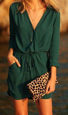 Green V Neck Drawstring Pockets Dress