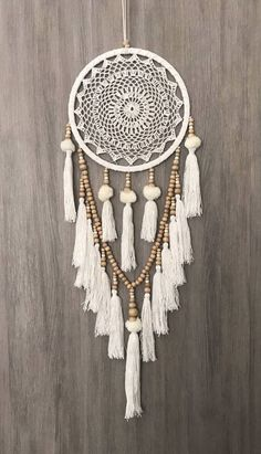 White Dreamcatcher, Crochet Dreamcatcher, Beaded Dream Catcher, Doily Dream Catcher, Wooden Bead Dreamcatcher- cm Boho Crochet Web Dream Catcher blanc/crème Pom Poms glands & perles en bois Source by christelerogez - Dream Catcher White, Large Dream Catcher, Dream Catcher Boho, Dream Catcher Bedroom, Doily Dream Catchers, Dream Catcher Craft, Dreamcatcher Crochet, White Dreamcatcher, Dreamcatchers Diy