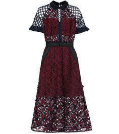Self-Portrait - Floral Grid lace midi dress - Self-Portraits signature lace looks are always at the top of our wish-list, and the label's Floral Grid dress is a sublime style for special events and date nights alike. The combination of navy and magenta lace is striking, especially over the dark red slip. Black grosgrain ribbon trim helps highlight the piece's architecture – team yours with a pair of vertiginous sandals. seen @ www.mytheresa.com