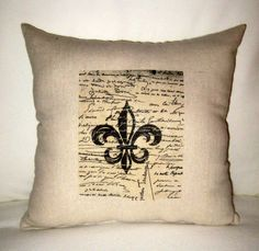 French Script and Fleur de Lis Shabby Chic Pillow, Paris Inspired Neutral French Country Cushion, Neutral Home Decor, French Word, Typograpy on Etsy, $17.99