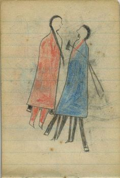 Plains Indian Ledger Art: Wild Hog Ledger-Schøyen - COURTING: Woman in Red Blanket, Man in Blue Blanket with Tomahawk
