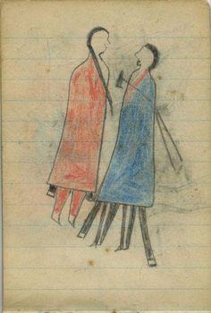 Plains Indian Ledger Art: Wild Hog Ledger-Schøyen - COURTING: Woman in Red Blanket, Man in Blue Blanket with Tomahawk